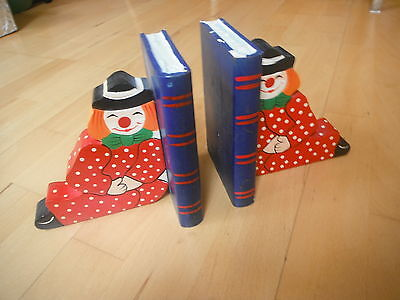 childrens book ends - solid wood - painted clowns