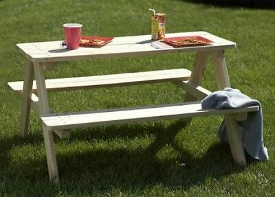 Wood Picnic Bench Kids Wooden Outdoor Garden Toddler Play Table Patio Furniture