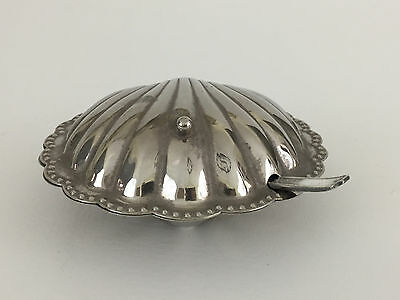 vintage silver platted shell dish, clear glass liner, & spoon