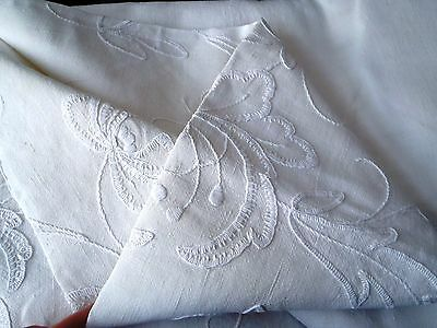 Country House Irish Mountmellick Embroidery Antique Linen tablecloth 157x210