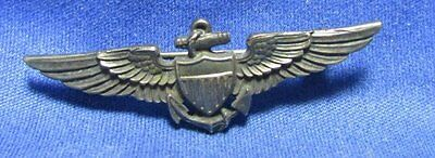 WWII Sterling Navy Naval Aviator Pilot Wings Badge by H&H