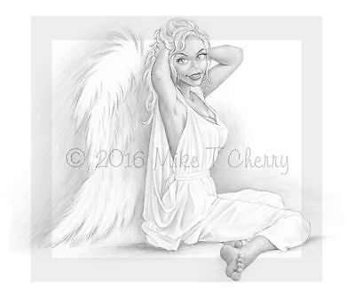 Angel Amanda a fantasy pencil drawing by Mike T Cherry