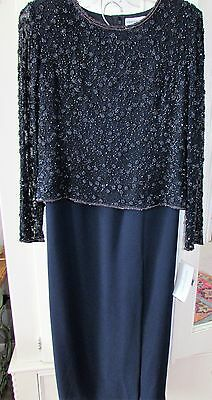 ADRIANNA PAPELL Wedding Mother of Bride NAVY BLUE BEADED DRESS GOWN 2 pc Sz 8