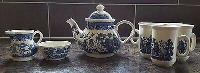 Blue willow pattern tea set by Churchill