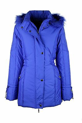 Blue Ladies Fur Trimmed Hooded Puff Jacket Coat Outdoor Size 12