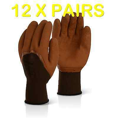 12 Pairs Brown Latex Coated Safety Work Gloves Grip Mens Builders Garden 60G
