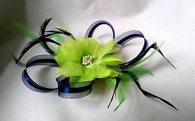 Dainty navy blue and lime green flower fascinator on a clip
