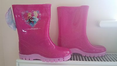 frozen girls wellies wellington shoes boots pink size UK 9
