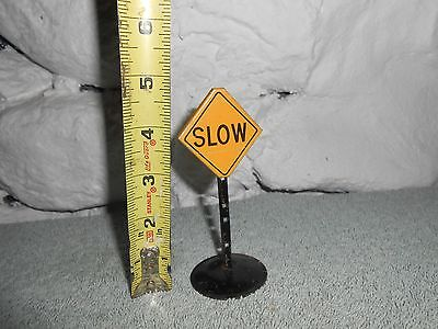 "Vintage Marx 1940s-50s Toy Metal Train Signs  ""SLOW"""