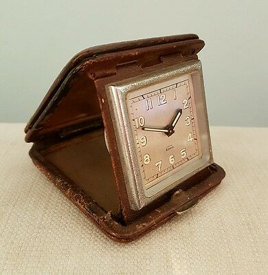 IMHOF travel clock. Leather case. Circa 1930. Working. Art Deco.