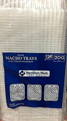 200 Clear 2 Compartment Nacho Cheese Tray 6.5 x 5