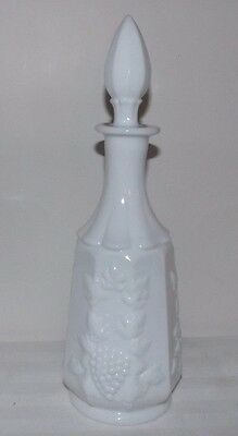 "Westmoreland Paneled Grape Milk Glass 13"" Tall DECANTER with Stopper"