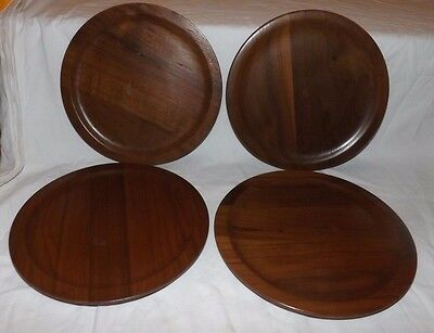 """(Set of 4) Real Solid Wooden 9"""" Dinner PLATES (WOOD)"""
