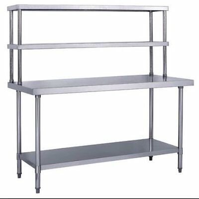 "Stainless Steel Work Prep Table 30"" x 48"" with Double Overshelf"