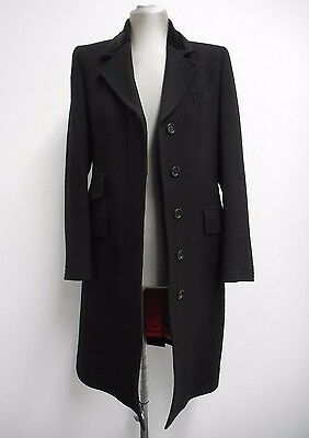 "Vintage coat by 'Burberrys' black classic with velvet collar 1990 S UK8/10 36"" B"