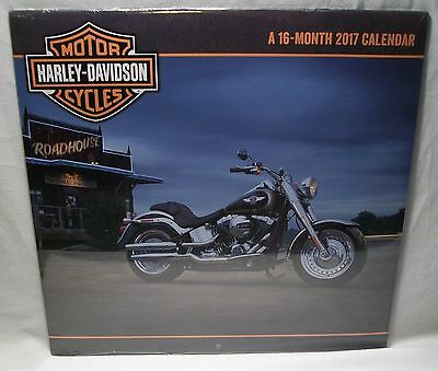 Brand New Sealed Official Harley Davidson 2017 16-Month Full Size Wall Calendar!