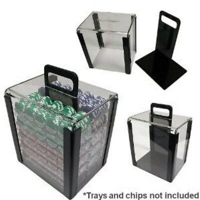 1000 Poker Chips Carrier Case Acrylic Box 10 Stackable Chip Racks Heavy Duty
