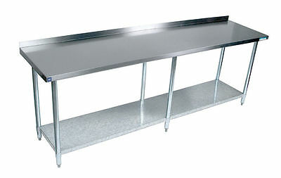 "Stainless Steel Work Prep Table 24"" x 84"" NSF Certified with Backsplash"