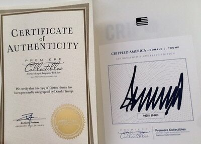 Authentic Donald Trump Signed Autographed Book Crippled America  New Condition