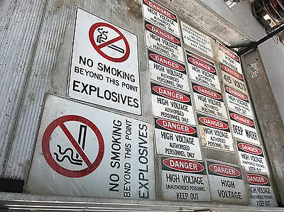 (25 X SIGNS) - DANGER No Smoking High Voltage KEEP OUT SIGN Environmental Trees