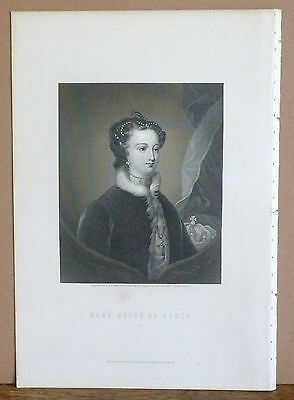 MARY QUEEN OF SCOTS engraved by W. Holl, Original Antique Victorian Print c.1870