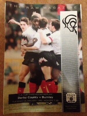 Derby County Programme 91/92 Season FA Cup