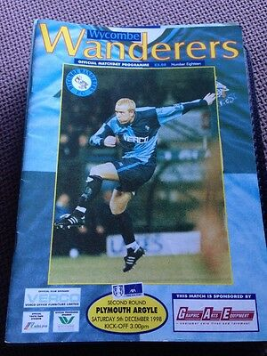 Wycombe Wanderers Programme FA Cup 98/99 Season