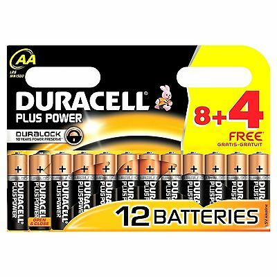 8+4=12 AA Duracell Plus Power 1.5V Alkaline Batteries LR06 RC Torch Flashlight