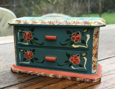 Lovely Vintage Painted Dolls House Chest of Drawers in Style of Dora Kuhn
