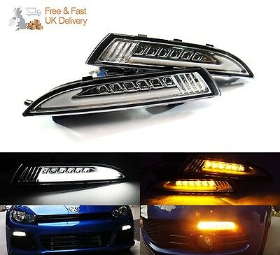 VW Scirocco 08-14 Clear Side LED Daytime Running Light Signal Indicator DRL
