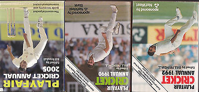 3  Playfair cricket annuals 1992 1990 2005 edited by Bill Frindall