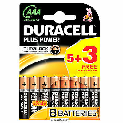 4+4=8 AAA Duracell Plus Power 1.5V Alkaline Batteries LR03 TV DVD Remote Control