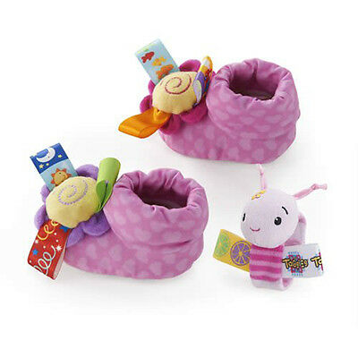 New Taggies Toes N Wristies Set Toys Pink Rattle Crinkle with Silk Tags 0 Month+