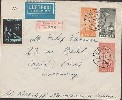 DANEMARK air mail Obliteration KJOBENHAVN    TO CREIL  YEAR 1938
