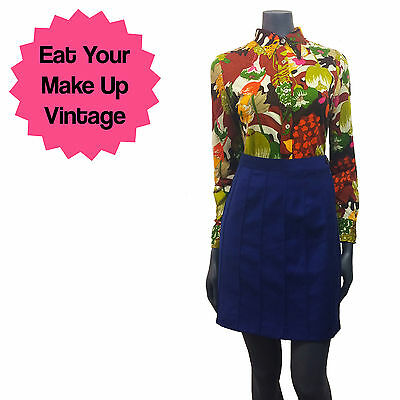Vintage 1970s Bright Psychedelic Floral Print Shirt Dagger Collar 12 14