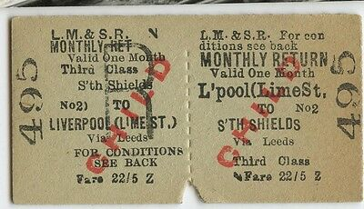 Railway Ticket; LM & SR.  Liverpool Lime St to South Shields