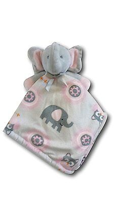 Blankets & Beyond Plush Gray, Pink, White Elephant + Security Blanket  ~ New