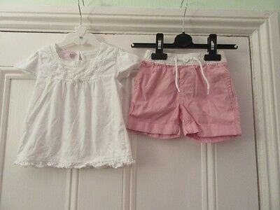 12-18m - Cute summer outfit - Monsoon white t-shirt/top + Baby Gap pink shorts