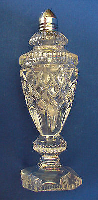 CUT GLASS Crystal SHAKER Tall FOOTED Diamond & Rib Antique/Vintage Gorgeous!