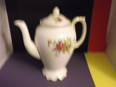CROWN Staffordshire COFFEE POT with Floral Decoration (A/F) DISPLAY ONLY