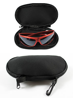 New Black Padded Sunglasses Glasses Case Pouch With Carry Clip Holiday Travel