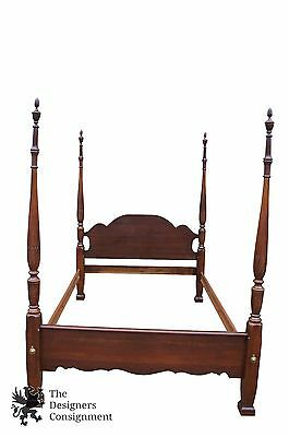 Kincaid Furniture Mahogany 4 Poster Rice Carved Queen Size Bed Sheraton Style