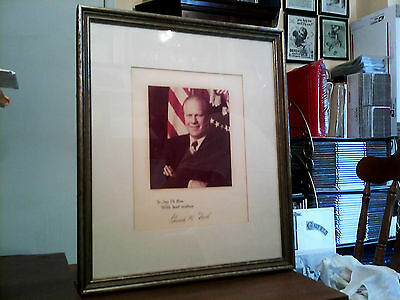 Gerald R. Ford Original Framed Autographed Photo + White House Letter Dated 1974