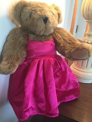 """Vermont Teddy Bear 16"""" Brown Fully Jointed With Pink Dress"""