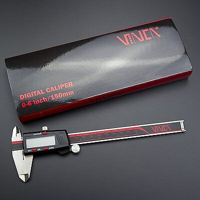 """Electronic LCD Digital Caliper Micrometer 0-6""""/150mm Measuring Stainless Steel"""