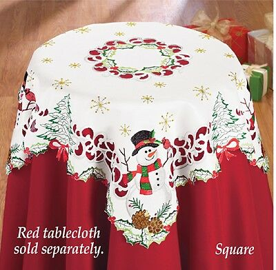 Frosty The Snowman w/ Cardinal Polyester Christmas Tablecloth