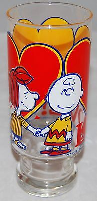 "Vintage Peanuts Cartoon Glass With Charlie Brown, Snoopy & Hearts, ""Love!"", 1966"