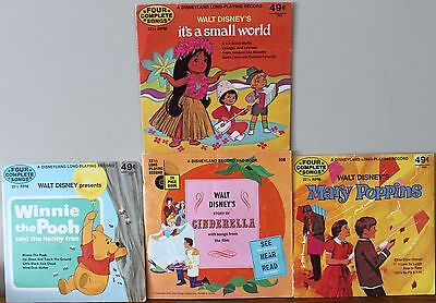 Lot of 4 Disneyland Records Cinderella w/Book 1965 SMALL WORLD MARY POPPINS POOH