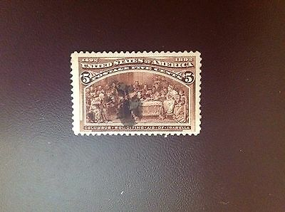 USA 1893 Columbus Expo 5c Chocolate SG239 Used