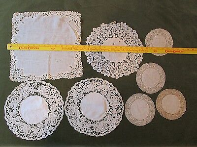 Antique Handmade Bobbin Bruges Flanders Duchesse rosa Lace lot cut 4 dolls teddy